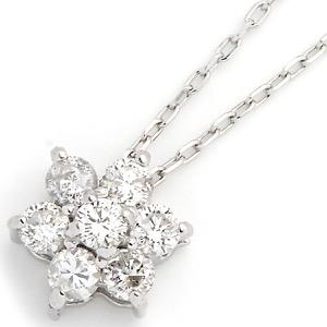 ジュエリー ネックレス アクセサリー レディース ダイアモンド 0.2カラット 7粒 K18 フラワー クリア&ホワイトゴールド DTP5167 WG JEWELRY