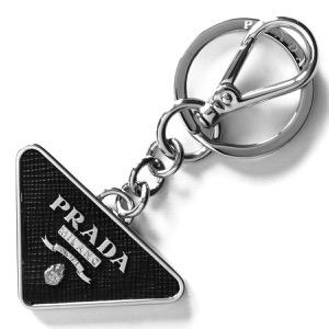 プラダ キーリング/キーホルダー アクセサリー メンズ レディース サフィアーノ 三角ロゴプレート ブラック 2PP080 053 F0002 PRADA