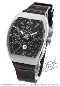 フランクミュラー ヴァンガード クロコレザー 腕時計 メンズ FRANCK MULLER V 45 SC DT AC NR[FMV45SCPLSSBKLZBKRD]