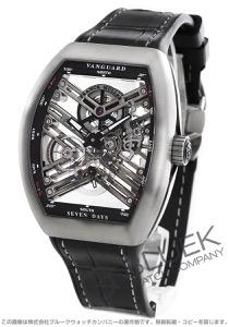 フランクミュラー ヴァンガード 7デイズ パワーリザーブ スケルトン クロコレザー 腕時計 メンズ FRANCK MULLER V45 S6 SQT TT BR NR [FMV45TSQT7DTIGYLZBKCR]