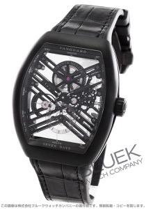 フランクミュラー ヴァンガード 7デイズ パワーリザーブ スケルトン クロコレザー 腕時計 メンズ FRANCK MULLER V45 S6 SQT TT NR BR NR[FMV45TSQT7DTINRBKLZBKCR]