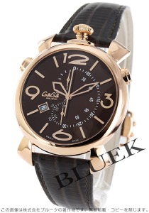 ガガミラノ シン クロノ46MM クロノグラフ リザードレザー 腕時計 メンズ GaGa MILANO 5098.03BW