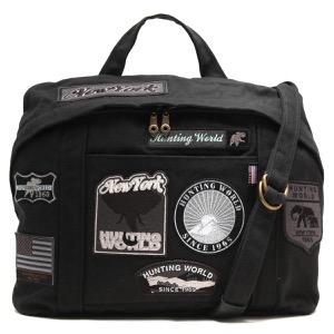 ハンティングワールド ショルダーバッグ/ハンドバッグ バッグ メンズ レディース ドッグ パッチ ワッペン ブラック 5023 DP5 HUNTING WORLD
