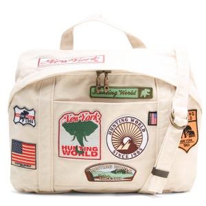 ハンティングワールド ショルダーバッグ/ハンドバッグ バッグ メンズ レディース ドッグ パッチ ワッペン アイボリーホワイト 5023 DP6 HUNTING WORLD