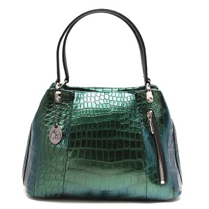 本革 ハンドバッグ バッグ レディース クロコ ブルー&グリーン CRB027 BLGR Leather