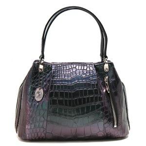 本革 ハンドバッグ バッグ レディース クロコ グリーン&パープル CRB027 GRPP Leather