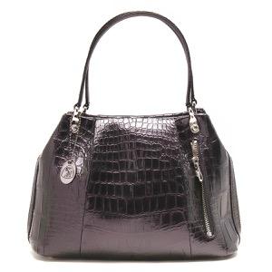 本革 ハンドバッグ バッグ レディース クロコ パープル&グリーン CRB027 PPGR Leather
