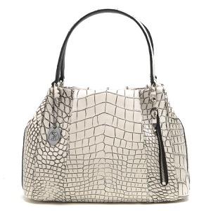 本革 ハンドバッグ バッグ レディース クロコ バニラホワイト CRB027 VAN Leather