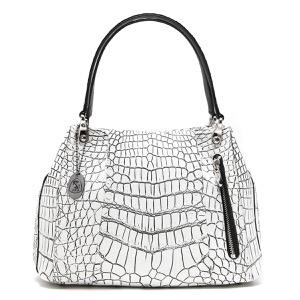 本革 ハンドバッグ バッグ レディース クロコ ホワイト&ブラック CRB027 WHBK Leather