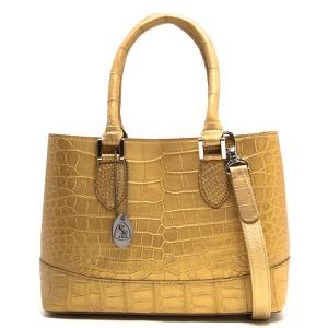 本革 ハンドバッグ/ショルダーバッグ バッグ レディース クロコ シャンパンゴールド CRB312 CGLD Leather