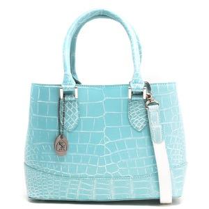 本革 ハンドバッグ/ショルダーバッグ バッグ レディース クロコ エメラルドブルー&ホワイト CRB312 EMWH Leather