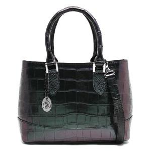 本革 ハンドバッグ/ショルダーバッグ バッグ レディース クロコ グリーン&パープル CRB312 GRPP Leather