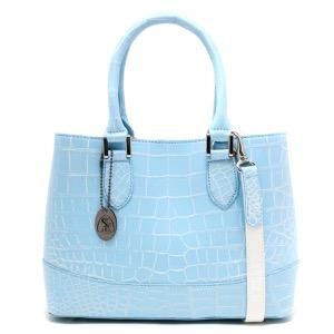 本革 ハンドバッグ/ショルダーバッグ バッグ レディース クロコ ライトブルー&ホワイト CRB312 LBWH Leather
