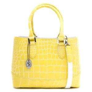 本革 ハンドバッグ/ショルダーバッグ バッグ レディース クロコ イエロー&ホワイト CRB312 YEWH Leather