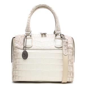 本革 ボストンバッグ/ミニバッグ/ショルダーバッグ バッグ レディース クロコ ヒマラヤホワイト CRB314 HIMA Leather