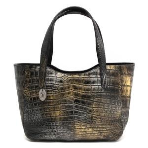 本革 トートバッグ バッグ レディース クロコ アンティークゴールド CRB504 ANGD Leather