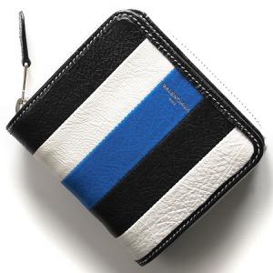 バレンシアガ 二つ折り財布 財布 レディース バザール ブルー&ブランホワイト&ブラック 443657 DE9BN 6460 BALENCIAGA