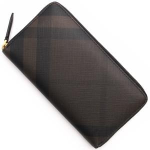 バーバリー 長財布 財布 メンズ スモークトチェック チョコレートブラウン&ブラック 3996188 2070B BURBERRY