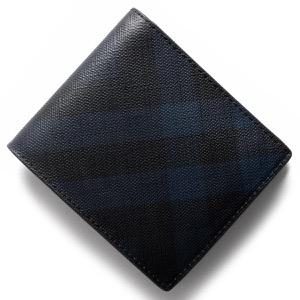 バーバリー 二つ折り財布 財布 メンズ ロンドンチェック LONDON CHECK ネイビー&ブラック 3998944 4100B BURBERRY