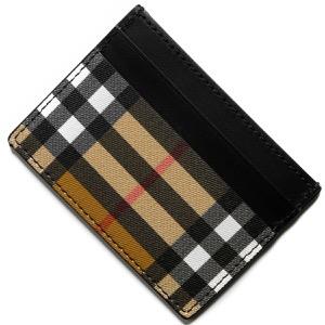 バーバリー クレジットカードケース メンズ レディース サンドン ヴィンテージチェック アンティークイエローベージュ&ブラック 4073130 00100 BURBERRY