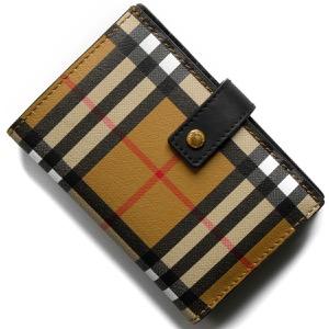 バーバリー 二つ折り財布 財布 メンズ レディース メリルボーン ヴィンテージチェック アンティークイエローベージュ&ブラック 4073137 00100 BURBERRY