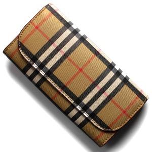 バーバリー 長財布 財布 レディース ハルトン ヴィンテージチェック クリムゾンベージュ 4080010 60150 BURBERRY