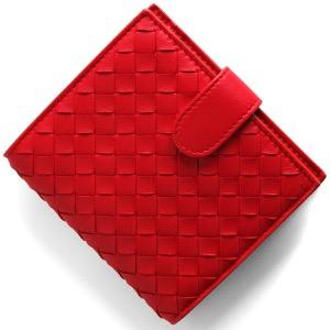 ボッテガヴェネタ (ボッテガ・ヴェネタ) 二つ折り財布 財布 メンズ レディース イントレチャート ブライトレッド 121059 V001N 8913 BOTTEGA VENETA