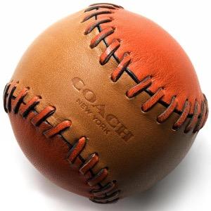 コーチ ソフトボール/インテリア小物 メンズ ベースボール ステッチ サドルブラウン&カーマインオレンジ F65249 EPJ COACH
