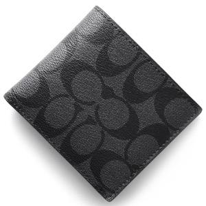 コーチ 二つ折り財布 財布 メンズ シグネチャー チャコールグレー&ブラック F75006 CQBK COACH