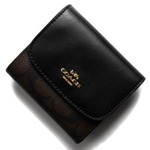 コーチ 三つ折り財布 財布 メンズ レディース シグネチャー スモール ブラウン&ブラック F87589 IMAA8 COACH