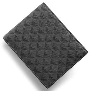 エンポリオアルマーニ 二つ折り財布 財布 メンズ PORTAMONETE ALL OVER イーグルマーク ブラック&グレー Y4R065 YG91J 81072 EMPORIO ARMANI