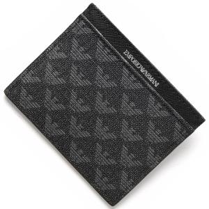エンポリオアルマーニ カードケース メンズ イーグルマーク ボードグレー&ブラック Y4R069 YO23J 86526 EMPORIO ARMANI