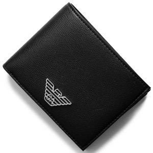 エンポリオアルマーニ 二つ折り財布 財布 メンズ イーグルマーク ブラック Y4R165 YLA0E 81072 EMPORIO ARMANI