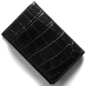 エッティンガー カードケース/名刺入れ メンズ クロコ エボニーブラック 143J CC EBONY ETTINGER