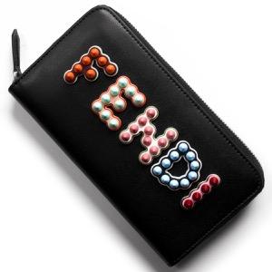 フェンディ 長財布 財布 レディース マルチスタッズ ブラック&マルチカラー 8M0299 A13J F0X93 FENDI
