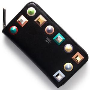 フェンディ 長財布 財布 レディース レインボー マルチ スタッズ エディション ブラック 8M0299 SR0 F0JBX FENDI