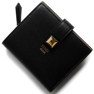 フェンディ 二つ折り財布/ミニ財布 財布 レディース レインボー スモール スタッズ ブラック&ダヴベージュ 8M0386 SWD F0E6E FENDI