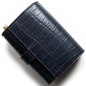 フェリージ 二つ折り財布 財布 メンズ レディース クロコ型押し ネイビーブルー 3500 SA 0005 FELISI