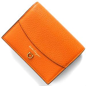 フェラガモ 二つ折り財布 財布 レディース ガンチーニ サツマオレンジ&ブラック 220260 SATSUMA NERO 0745483 SALVATORE FERRAGAMO