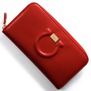 フェラガモ 長財布 財布 レディース ガンチーニ リップスティックレッド 22C843 LIP 0683626 SALVATORE FERRAGAMO