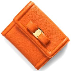 フェラガモ 二つ折り財布 財布 レディース ヴァラ リボン サツマオレンジ 22C911 SATSUMA 0747778 SALVATORE FERRAGAMO