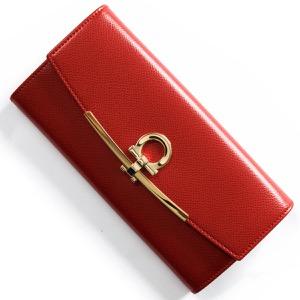 フェラガモ 長財布 財布 レディース ガンチーニ リップスティックレッド 22D150 LIP 0683314 SALVATORE FERRAGAMO