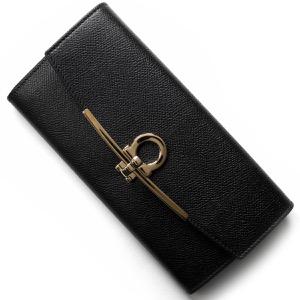 フェラガモ 長財布 財布 レディース ガンチーニ ブラック 22D150 NER 0683312 SALVATORE FERRAGAMO