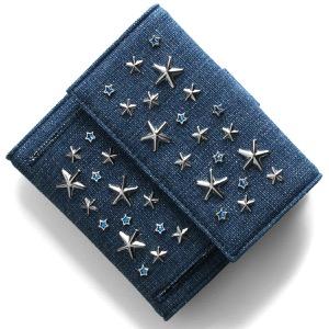 ジミーチュウ 二つ折り財布 財布 メンズ レディース フリーダ クリスタル スター スタッズ ネイビー&シルバー&ライトブルー FRIDA ESY 0C7421 NAVY SILVER LIGHT BLUE JIMMY CHOO