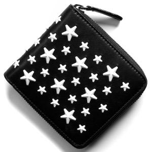 ジミーチュウ 二つ折り財布 財布 メンズ レディース ローレンス エナメル スター スタッズ ブラック&ホワイト LAWRENCE ENL 183 BLACK WHITE JIMMY CHOO