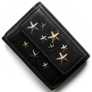 ジミーチュウ 三つ折り財布/ミニ財布 財布 レディース ネモ ブラック マルチ メタル スター スタッズ ブラック&メタリックミックス NEMO LTR 143 BLACK METALLIC MIX JIMMY CHOO