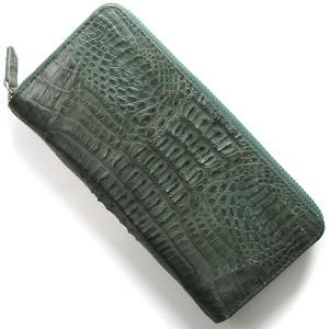本革 長財布 財布 メンズ レディース カイマンワニ キプロスグリーンマット CJN0512B CGNTMT Leather