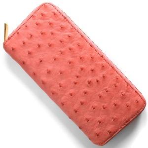 本革 長財布 財布 レディース オーストリッチ サーモンピンク CROS002 PNK Leather