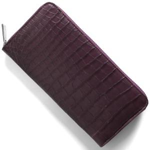 本革 長財布 財布 メンズ レディース クロコ パープル CRS002D PPL Leather