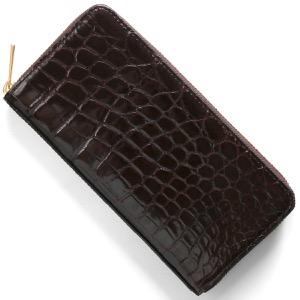 本革 長財布 財布 メンズ レディース クロコ ダークブラウン CRS002HLG DBR Leather